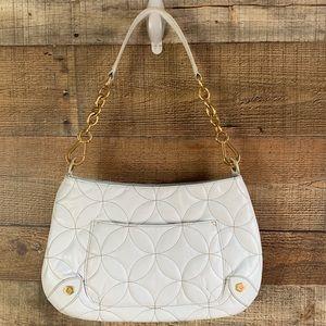 Eric Javits white leather shoulder purse w/ mirror